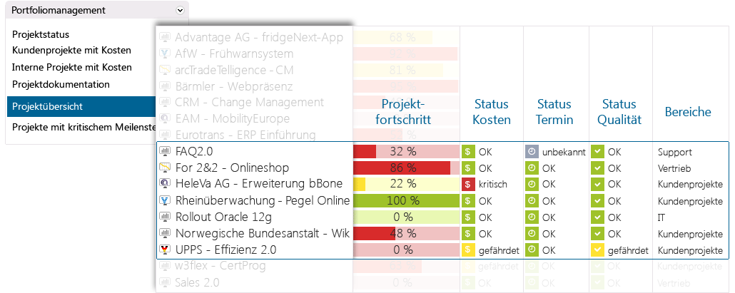 Multi-projektmanagement with in-STEP-BLUE