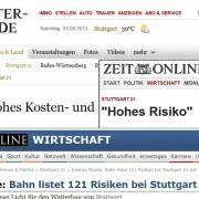 Meldungen über Risiken in der Tagespresse