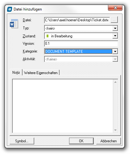 ein ticket in ms word darstellen in step blue