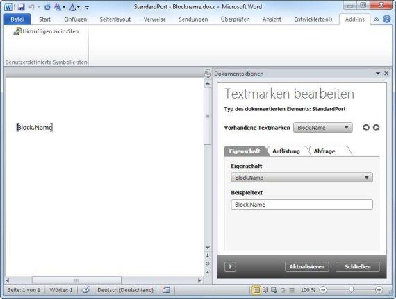 Bearbeiten der Dokumentvorlage für den Standardport in MS Word
