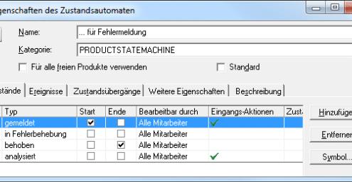 Eigenschaften des Zustandsautomaten für die Fehlermeldung