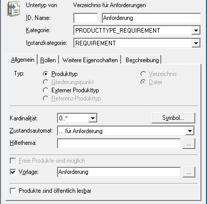Produkttype Requirement