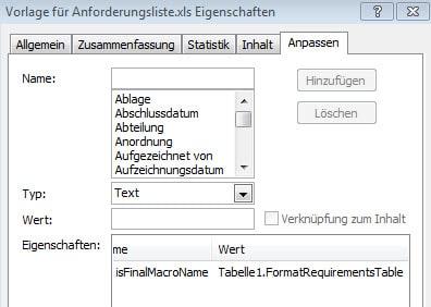 Eigenschaften der Excel-Datei
