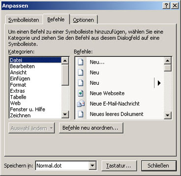 Dialog in früherer Version