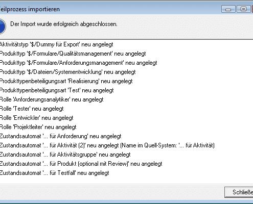 Protokoll des Imports