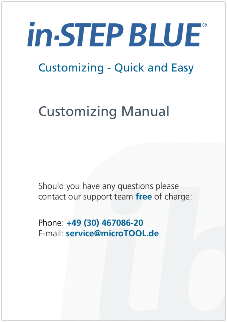 in-STEP BLUE Customizing Manual
