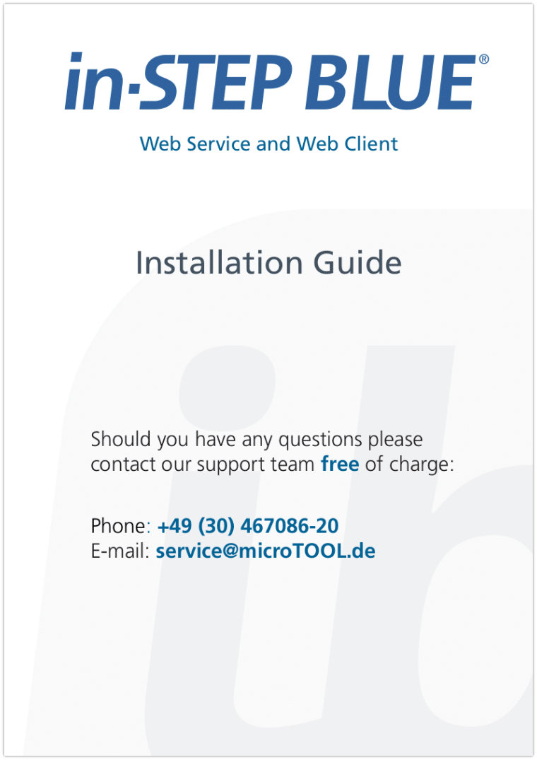 in-STEP BLUE Web Service and Web Client Installation Guide