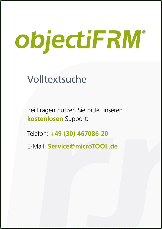 objectiF RM - Einrichtung der Volltextsuche
