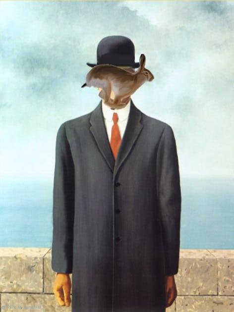 Rene Magritte - Le fils de l'homme avec lièvre