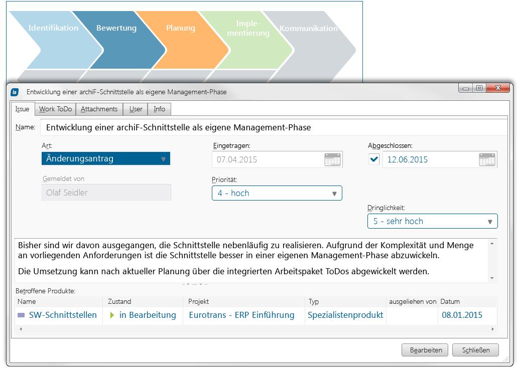 Änderungsantrag mit allen Details im Blick mit dem Change Management in in-STEP BLUE