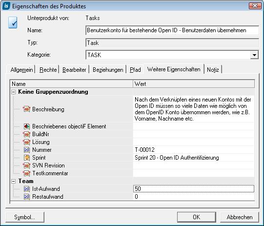 IST-Aufwand in den Eigenschaften einer Task