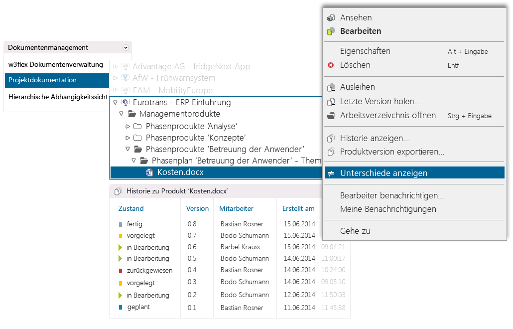 Revisionssicher mit dem Versionsmanagement in in-STEP BLUE