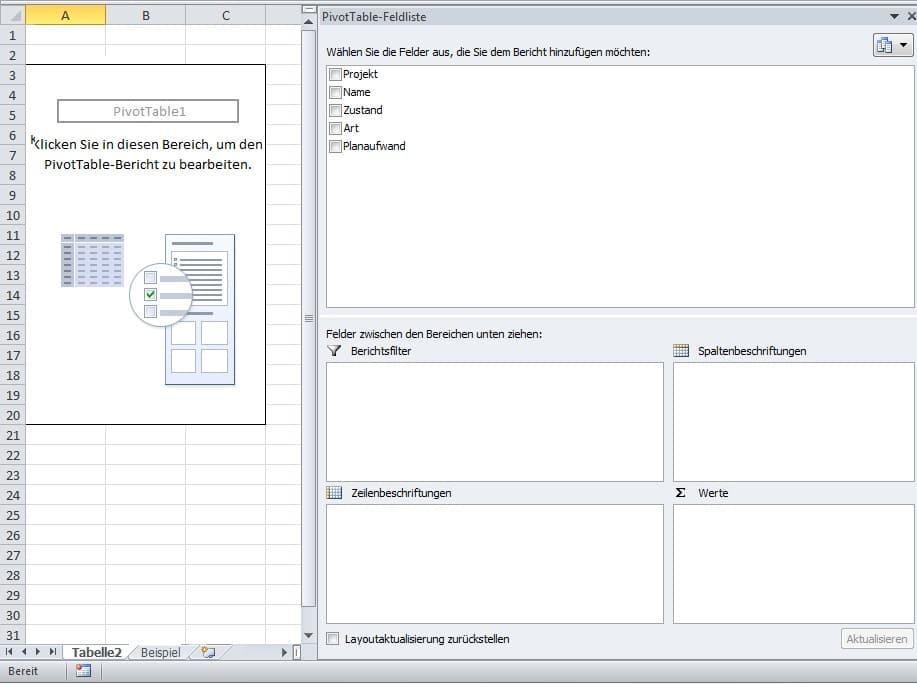 Assistent zur Auswahl der Felder, Filter, Beschriftungen