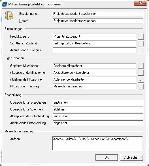 Mitzeichnungsbefehl konfigurieren