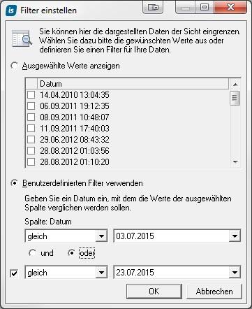 Neue Filtermöglichkeiten in in-STEP BLUE 5.0.4