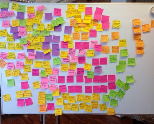 Braindumping Session: Nach 15 Minuten ist das Whiteboard gefüllt mit vielen Ideen.