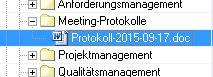 Protokoll mit Datum in einer Listendarstellung