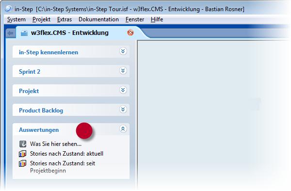 in-STEP BLUE Auswertungen Toolbar