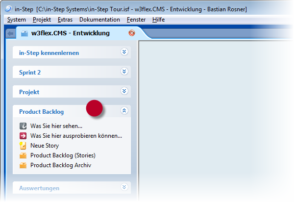in-STEP BLUE Backlog Toolbar