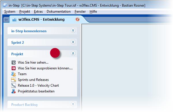 in-STEP BLUE Projekt Toolbar