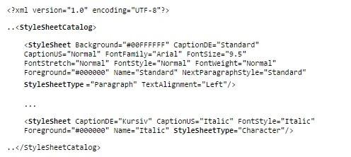 Grundstruktur der XML-Datei