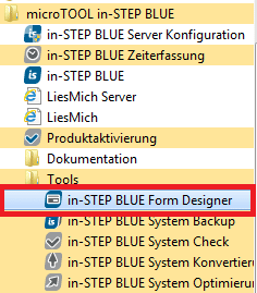 Aufruf des in-STEP BLUE Form Designers
