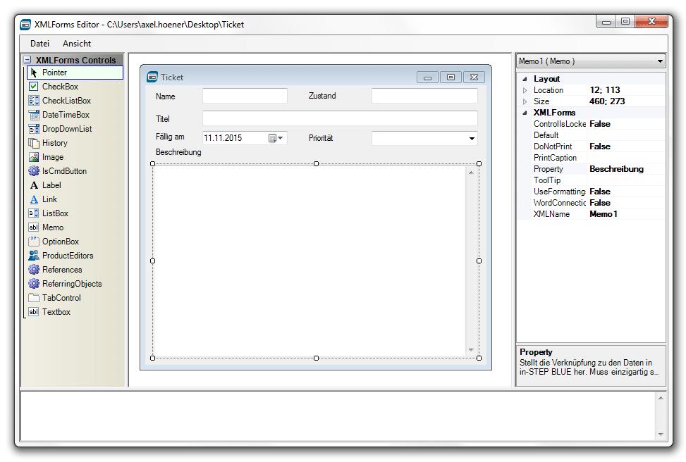 XML Form Designer - mit etwas Übung leicht in der Bedienung