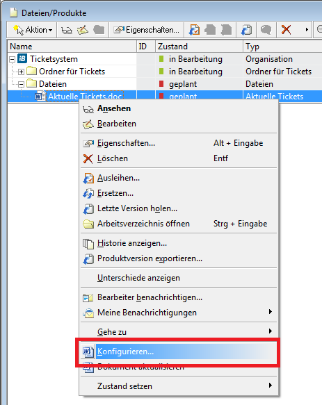 Das konkrete MS Word Dokument konfigurieren