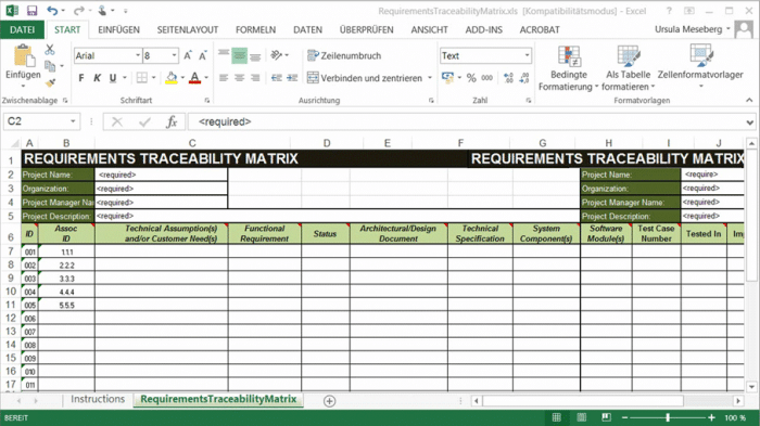 Traceability Matrix in Excel
