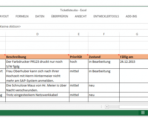 Das Arbeiten mit Tickets in MS Excel
