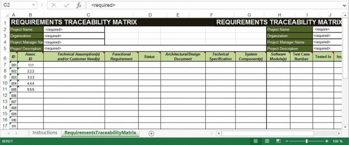 The traceability matrix in Excel