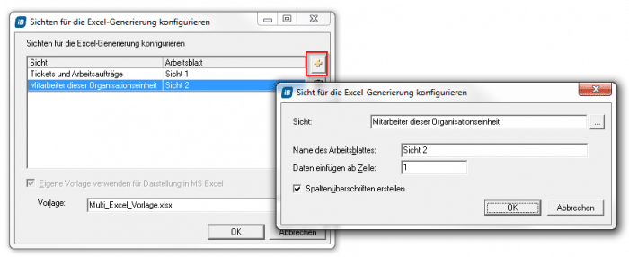 Den MS Excel-Export konfigurieren