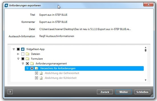 Using the ReqIF Interface in in-STEP BLUE