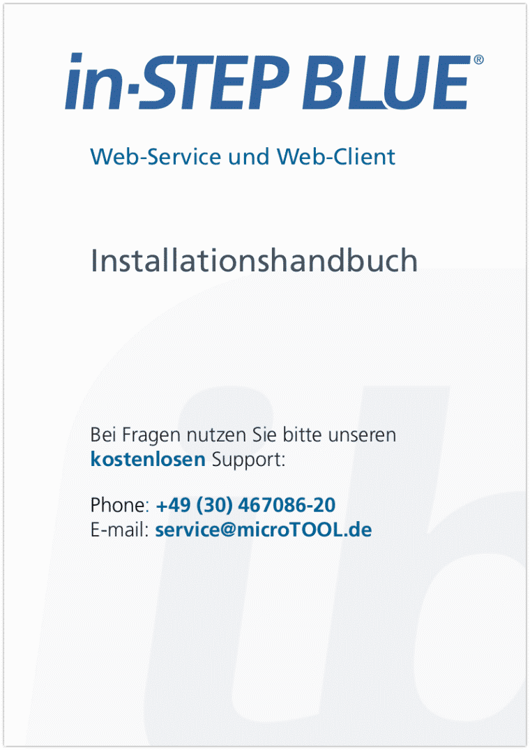 in-STEP BLUE Installationshandbuch - Web-Client und Web-Service (DE)
