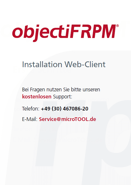 objectiF RPM - Installation Web-Client