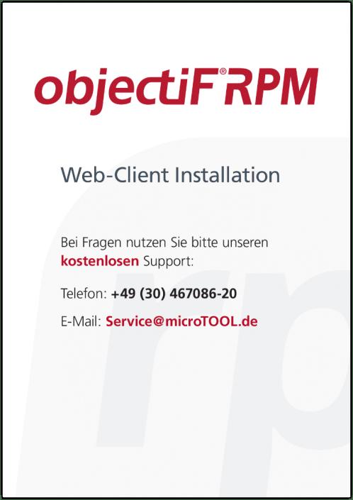 objectiF RPM - Web-Client Installation