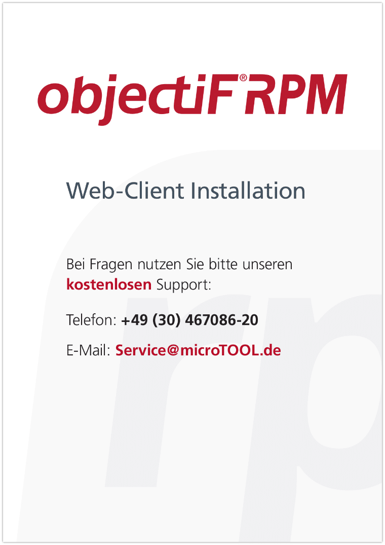 objectiF RPM - Web-Client Installation