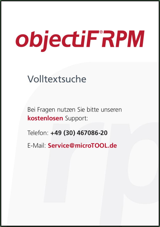 objectiF RPM - Einrichten der Volltextsuche