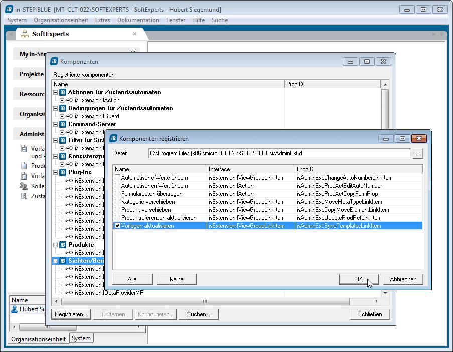 Die Komponente registrieren