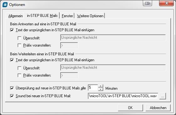 Soundeinstellungen beim Erhalt neuer in-STEP BLUE Mails
