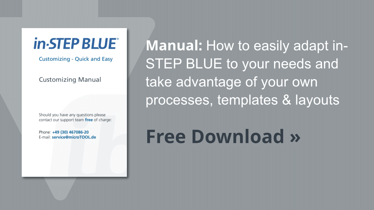 Customizing manual in-STEP BLUE