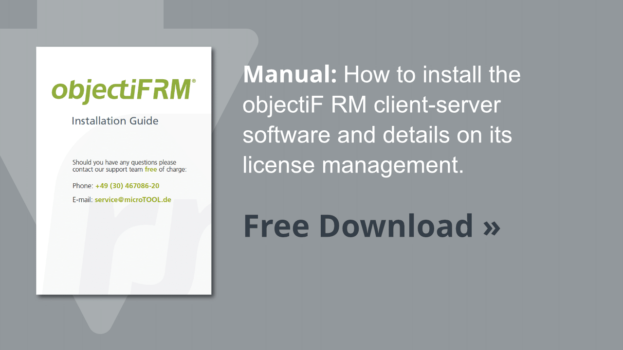 Manual objectiF RM installation guide