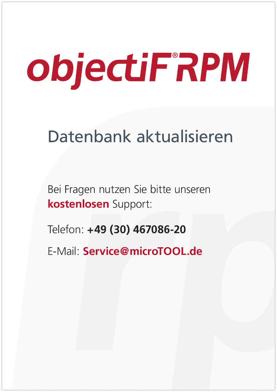 objectiF RPM - Datenbank aktualisieren