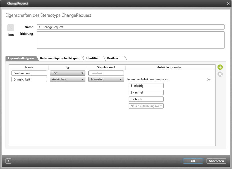 objectiF RPM - Eigenschaften des Stereotypen Change Request
