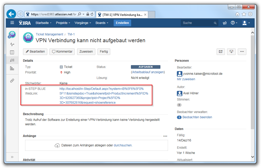 Ein Ticket in JIRA mit Link auf in-STEP BLUE
