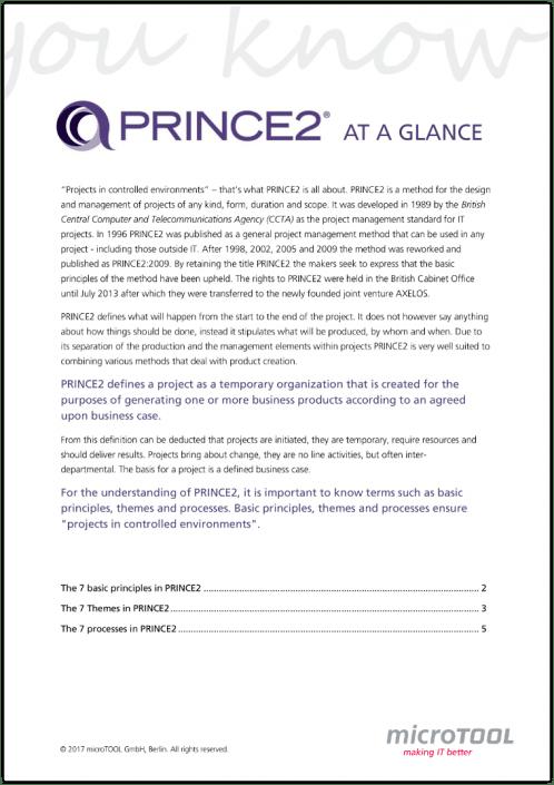 PRINCE2 at a glance