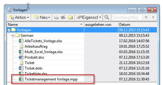 MS Project-Datei als Vorlage aufnehmen