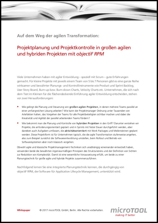 Projektplanung und Projektkontrolle in agilen und hybriden Projekten