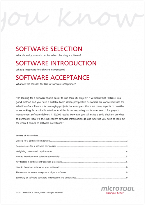Whitepaper about selection, introduction and acceptance of software
