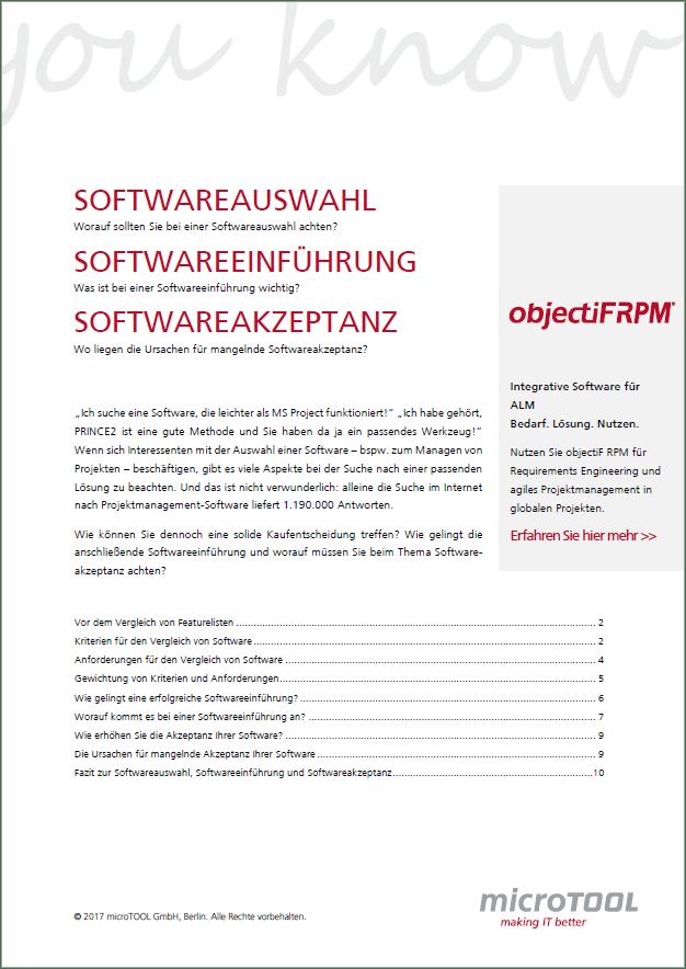 Softwareauswahl, Softwareeinführung, Softwareakzeptanz